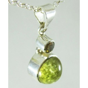 Cats Eye Beryl and Citrine Silver Pendant