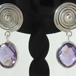Amethyst Silver Spiral Earrings