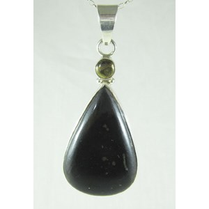 Pyrite and Nuummite Silver Pendant