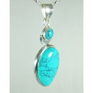 Turquoise Moon Silver Pendant