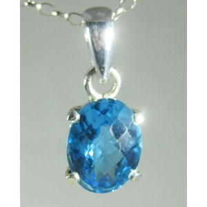Blue Topaz Faceted Pendant