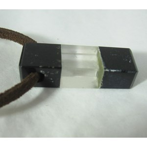 Obsidian and Quartz Block Pendant (x1)