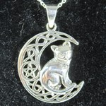 Cat and Moon Silver Pendant