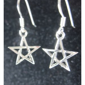 Pentagram Silver Earrings