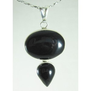 Black Onyx Double Crystal Pendant