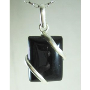 Black Onyx Wrapped Pendant