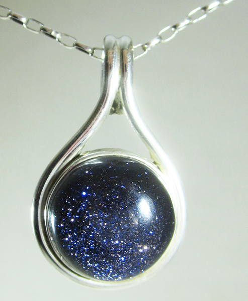 image necklace product chandra goldstone of moon eclectic black crescent blue