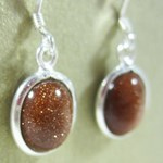 Red Goldstone Oval Earrings