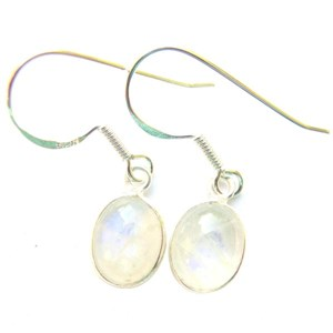Moonstone Dainty Oval Earrings