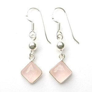 Rose Quartz Diamond Earrings