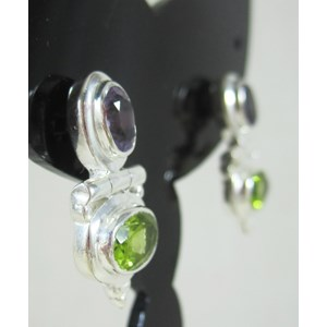 Amethyst and Peridot Earrings.