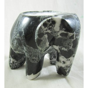 Black Marble Elephant Tea Light Holder