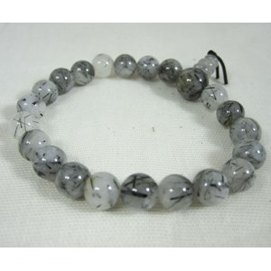 Tourmalinated Quartz Powerbead Bracelet