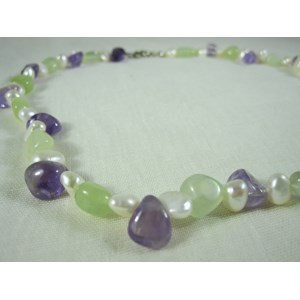 Amethyst, Pearl and New Jade Necklace