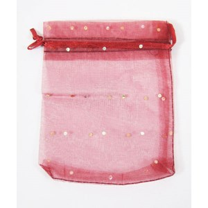 Burgundy Organza Pouch with Sparkles