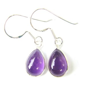 Amethyst Small Teardrop Earrings