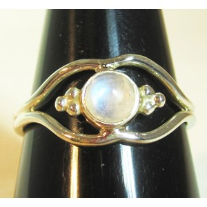 Pretty Rainbow Moonstone Ring (Size P)