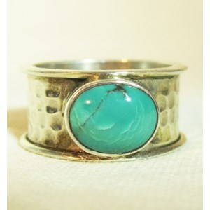 Turquoise Hammered Ring (Size Q)