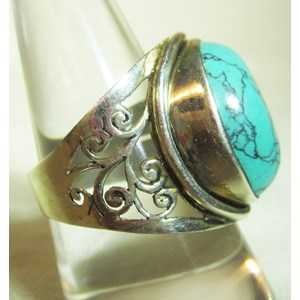 Ornate Turquoise Ring (Size R)