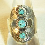 Indian Style Turquoise Ring (Size T)