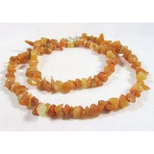 Peach Aventurine Chip Necklace