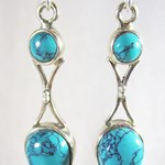 Double Turquoise Silver Earrings