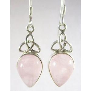 Rose Quartz Trio Silver Earrings