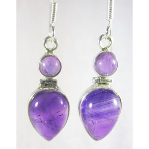 Double Amethyst Silver Earrings
