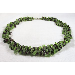 Peridot and Garnet Chip Necklace
