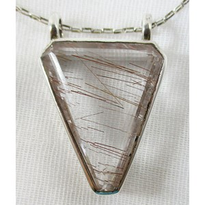 Rutilated Quartz Triangular Silver Pendant