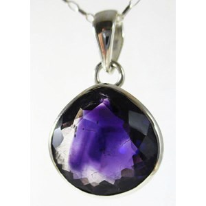 Amethyst Faceted Pear Drop Pendant (smallish)