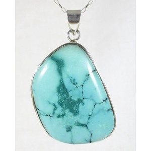 Turquoise Chunky Silver Pendant