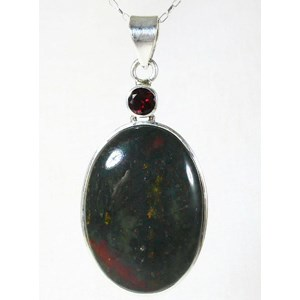 Garnet and Bloodstone Silver Pendant