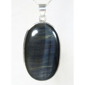 Black Tigers Eye Silver Pendant