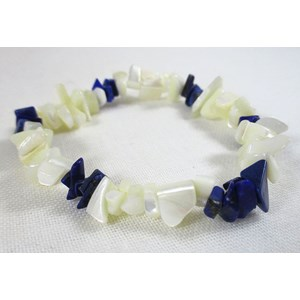 Mother of Pearl and Lapis Lazuli Chip Bracelet (S/M)