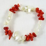 Mother of Pearl and coral Chip Bracelet