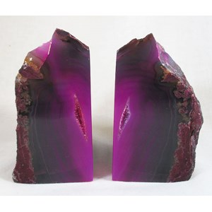 Pink and Black Agate Book Ends