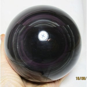Rainbow Obsidian Sphere with eclipse