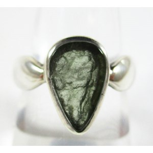 Polished Moldavite Silver Ring (Size O)