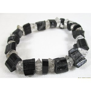 Black Tourmaline and Herkimer Rough Bracelet
