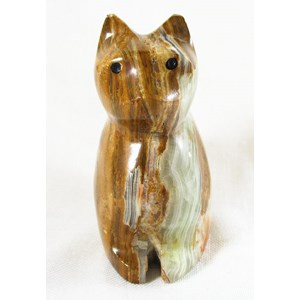 Banded Ginger Onyx Sitting Cat