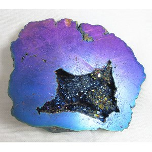 Magenta and Purple Aura Quartz Geode