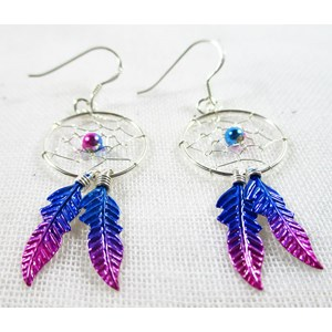 Magenta Dreamcatcher Earrings