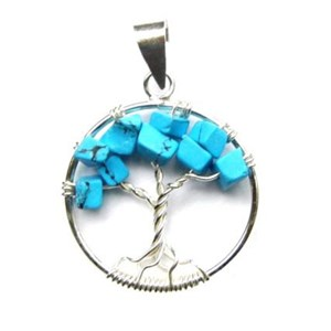 Turquoise Howlite Tree of Life Pendant (smallish)
