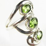 Faceted Peridot Silver Ring (Size N)