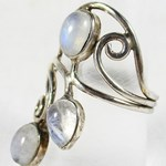 Moonstone Silver Ring (Size N or O)