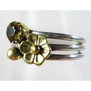 Citrine and Brass Flower Ring (Size N)