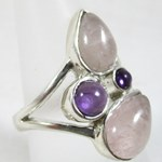 Rose Quartz and Amethyst Ring (size O)