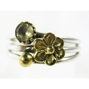 Citrine Flower Ring (Size O)