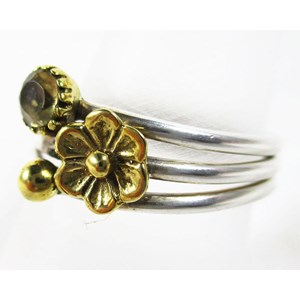 Citrine and Brass Flower Ring (Size O)